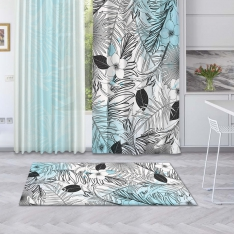 Modern Blue Summer Leaves Printed Carpet