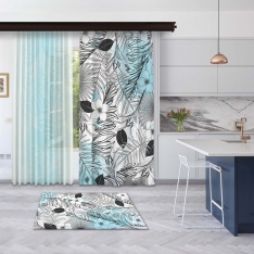 Modern Blue Summer Leaves Panel Curtain and Tulle Curtain Combine