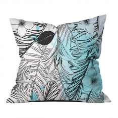 Modern Blue Summer Leaves Pillow