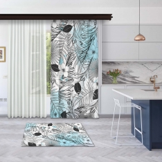 Modern Blue Summer Leaves Model 1 Panel Curtain