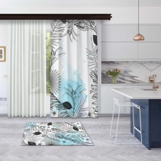 Modern Blue Summer Leaves Model 2 Panel Curtain
