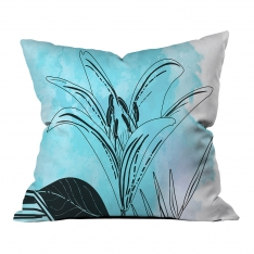 Modern Blue Summer Leaves Model 2 Pillow