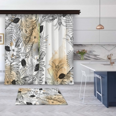 Modern Orange Summer Leaves 2 Pieces Panel Curtain