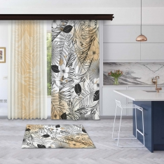 Modern Turuncu Yaz Yaprakları Fon ve Tül Perde Kombin