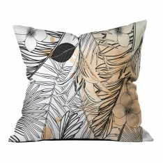 Modern Orange Summer Leaves Pillow