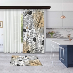 Modern Orange Summer Leaves Model 1 Panel Curtain