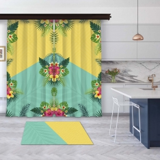 Yellow-Mint Green Summer Flowers 2 Pieces Panel Curtain