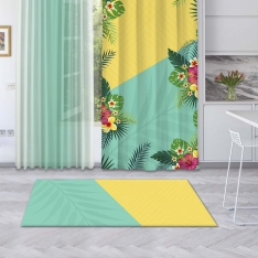 Yellow-Mint Green Summer Flowers Printed Carpet
