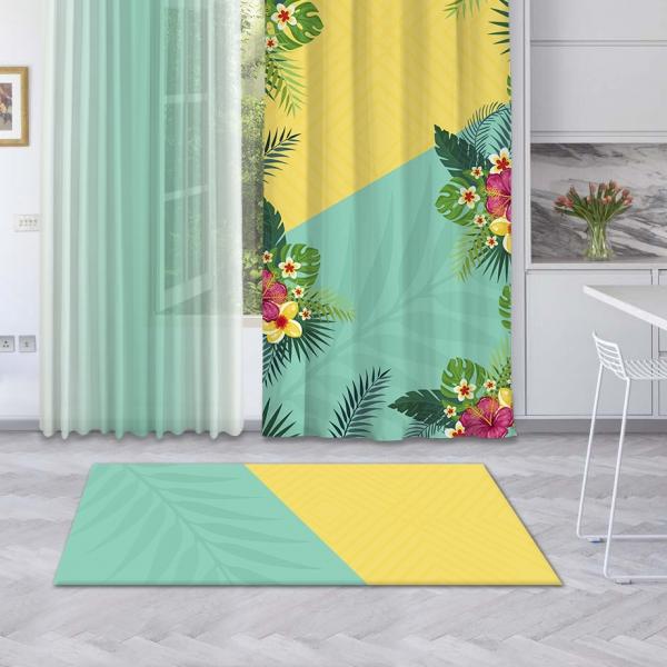 Sarı-Mint Yeşili Yaz Çiçekleri Baskılı Halı