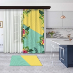Yellow-Mint Green Summer Flowers Panel Curtain