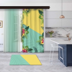 Yellow-Mint Green Summer Flowers Panel Curtain and Tulle Curtain Combine