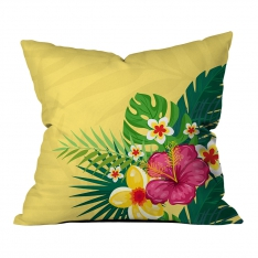 Yellow-Mint Green Summer Flowers Pillow