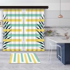 Yellow-Mint Green Summer Composition 2 Pieces Panel Curtain