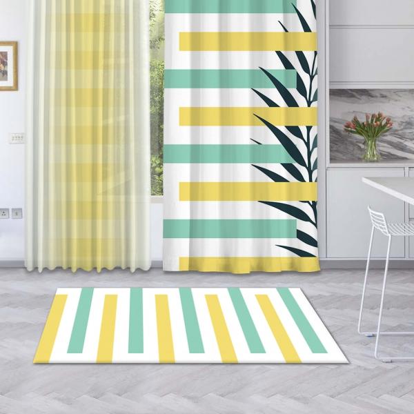 Sarı-Mint Yeşili Yaz Kompozisyonu Baskılı Halı