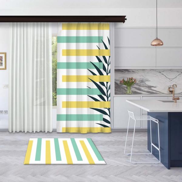 Sarı-Mint Yeşili Yaz Kompozisyonu Fon Perde
