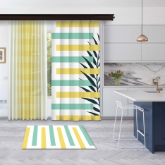Yellow-Mint Green Summer Composition Panel Curtain and Tulle Curtain Combine