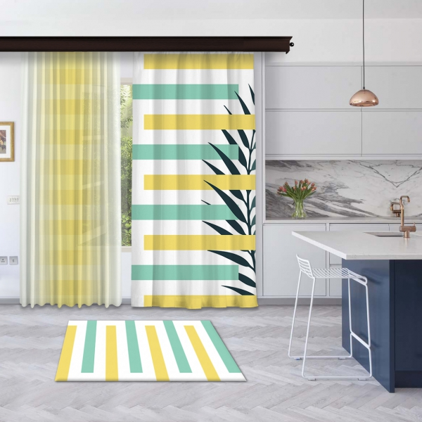 Sarı-Mint Yeşili Yaz Kompozisyonu Fon ve Tül Perde Kombin