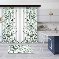 Tints of Olive Tree 2 Pieces Panel Curtain