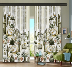 Botanic Cactus 2 Piece Panel Curtain