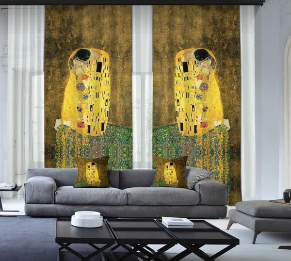 Gustav Klimt - Öpücük 2 Kanat Blackout Perde