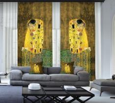 Gustav Klimt - Öpücük 2 Kanat Fon Perde