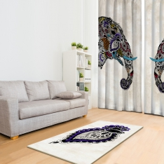 Ethnic Elephant Figured 2 Combine Printed Carpet