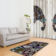 Ethnic Elephant Figured Combine Printed Carpet
