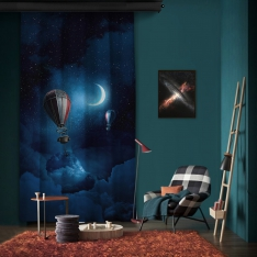 Moonlight and Balloons One Piece Panel Curtain