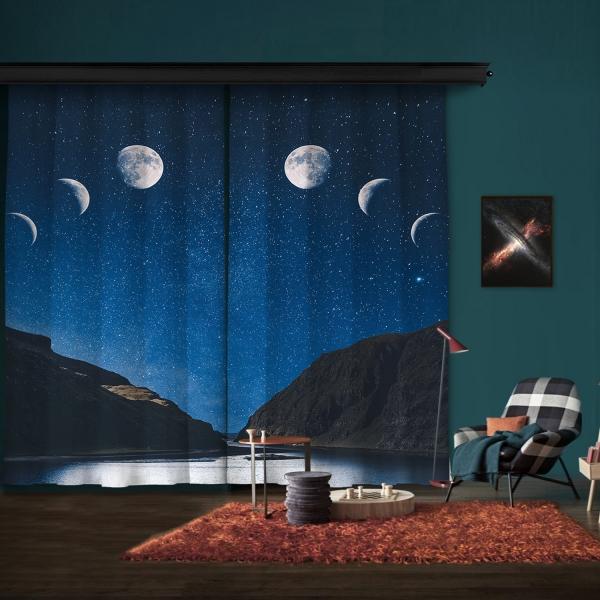 Gökyüzü ve Ay Manzarası Çift Kanat Fon Perde