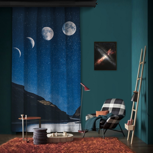 Gökyüzü ve Ay Manzarası Tek Kanat Fon Perde
