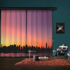 Sunset Silhouette of City 2 Piece Panel Curtain