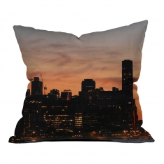Sunset Silhouette of City Pattern 2 Pillow 2