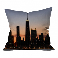 Sunset Silhouette of City Pattern 2 Pillow
