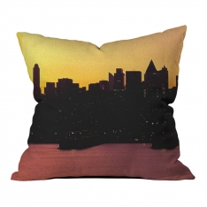 Sunset Silhouette of City Pillow