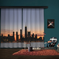 Sunset Silhouette of City Model 2 2 Piece Panel Curtain