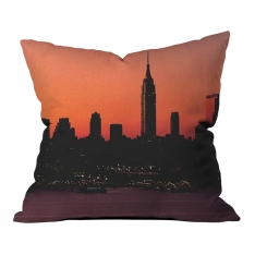 Sunset Silhouette of City Model 2 Pillow