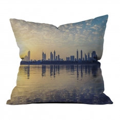Sunrise Silhouette of City Pillow