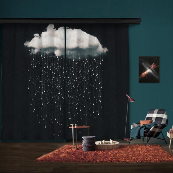 Hayal Bulutları Çift Kanat Fon Perde