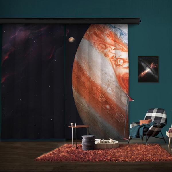 Jüpiter Atmosferi Çift Kanat Fon Perde