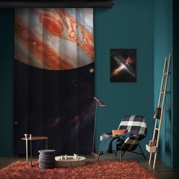 Jüpiter Atmosferi Tek Kanat Fon Perde