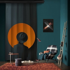 Dark Orange Music Spirit One Piece Panel Curtain