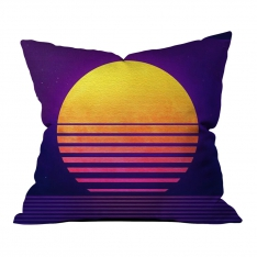 Purple Orange Illustration Pillow