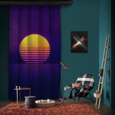 Purple Orange Illustration One Piece Panel Curtain