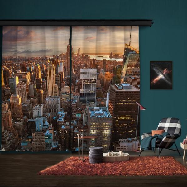New York Manzarası Çift Kanat Fon Perde