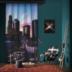 Colorful City Image One Piece Panel Curtain