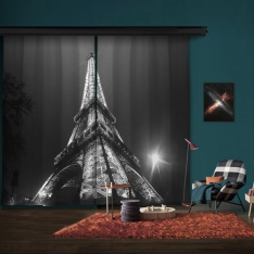 Black White Eiffel 2 Piece Panel Curtain