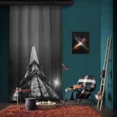 Black White Eiffel One Piece Panel Curtain