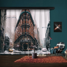 Cold Winter New York 2 Piece Panel Curtain