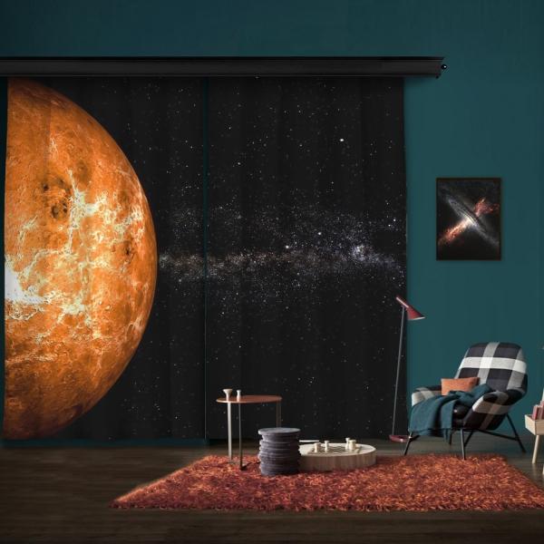 Venüs Atmosferi Çift Kanat Fon Perde