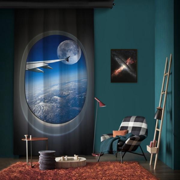 Vip Uçuş Gökyüzü ve Ay Tek Kanat Fon Perde